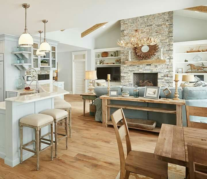 Rustic beach house kitchen images for Beach house kitchen plans