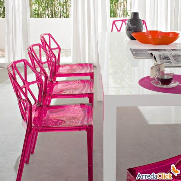 Pink plastic chairs