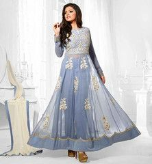 #DRASHTI_DHAMI @MADHUBALA LOOKS GORGEOUS IN GREY PARTY WEAR TIKIWORK ANARKALI DRESS ...LTNT68011...Rs.3,200.00