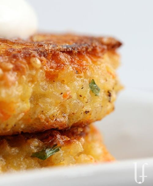 Quinoa Burger~ Made with quinoa, cottage cheese, cheddar cheese, carrot or zucchini, eggs and scallions.