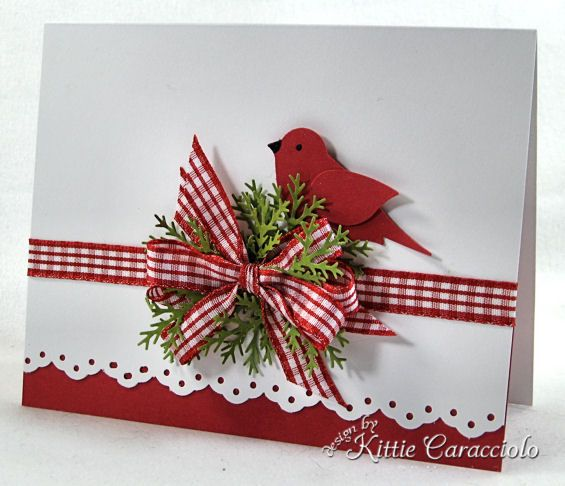 Such a charming, classically lovely Christmas card. #Christmas #bird #card #dimensional #crafts #card_making #scrapbooking