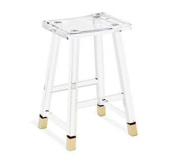 Reva Brass Counter Stool Design By Interlude Home Dimensions: X X Material:  Acrylic/ Metal Finish: Clear/ Brass Combining Glamour With Practicality