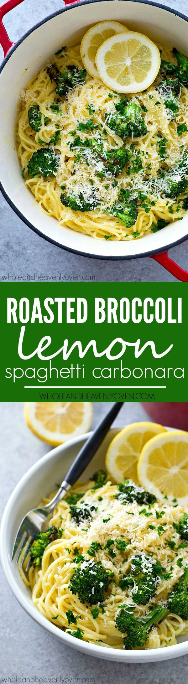 Spaghetti carbonara with a healthy spring twist! These easy noodles are extra-creamy and loaded with roasted broccoli and lots of lemon goodness.
