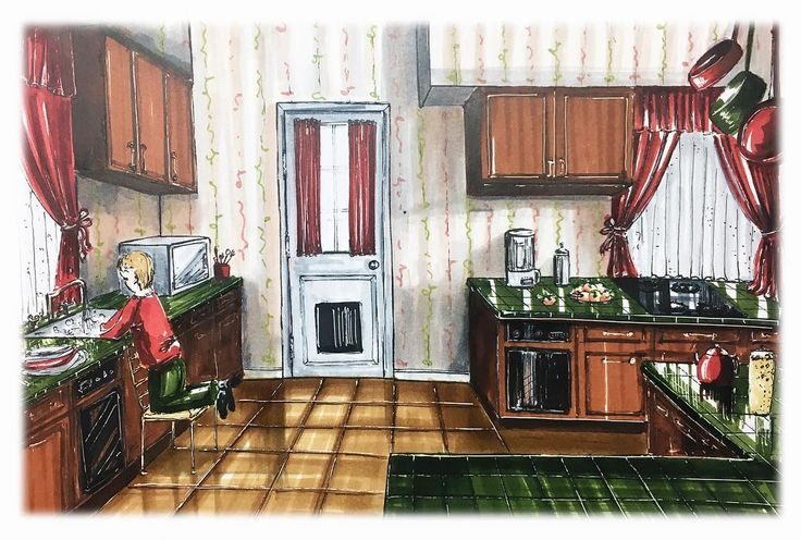 """А вот и кадр самого новогоднего семейного фильма """"Один дома""""😃 Поддерживаю марафон рисования без линейки и карандаша #рисую_одиндома с @interior_sketch  Кривоватенько, конечно)) люблю я линейку😊 Но опыт очень интересный! Оля, спасибо!❤️"""