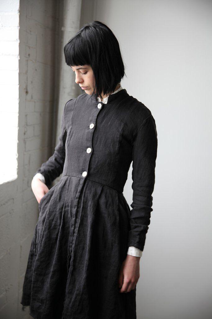 Róisín Washed Linen Long Jacket - Black | Ovate