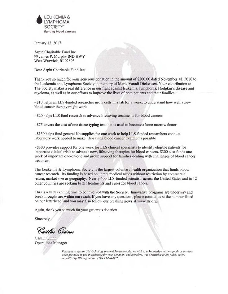 Thank you letter from the Leukemia \ Lymphoma Society for our - donation thank you letter
