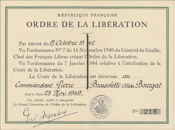 Carte de Pierre Bourgat, alias Pierre Brossolette, détenteur de la Croix de la Libération, 23 novembre 1949. Archives nationales / fonds Pierre Brossolette / 72AJ/2215 © Archives nationales; France