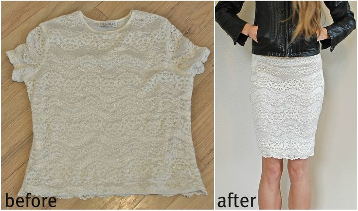 Trash To Couture: DIY out-dated tshirt into lovely pencil skirt. (Rachel?)