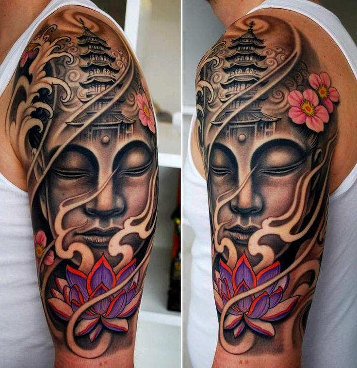 Tatuaje publicado por tattoo ideas en su sitio ,un tatuaje budista donde muestra una flor, un tribal representando el aroma la tranquilidad y un templo