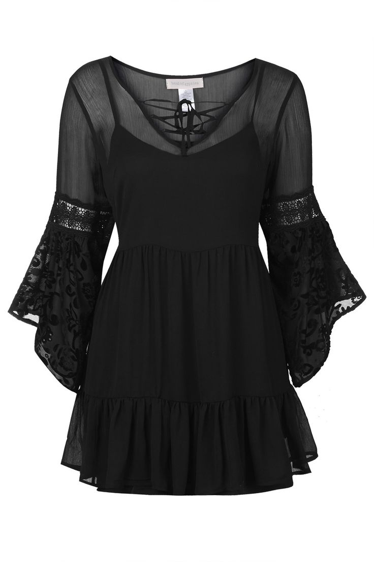 Photo 1 of Chiffon Bell Sleeve Dress by Band of Gypsies