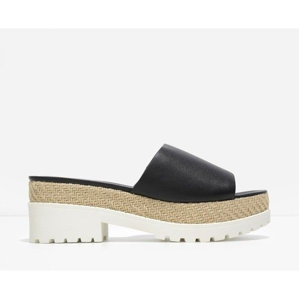 I got you ✅ CHARLES & KEITH Track Sole Sliders (190 ILS) ❤ liked on Polyvore featuring shoes, black, open toe platform shoes, kohl shoes, open toe espadrilles, black platform shoes and black shoes
