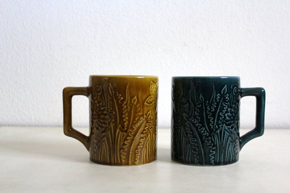 Vintage Secla Pair of Mugs Amber Blue Portuguese Pottery