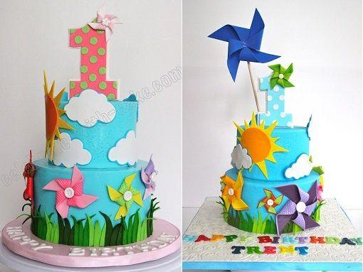 pinwheel birthday cakes by Celebrate With Cake