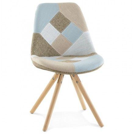 La chaise patchwork style scandinave boheme en tissu bleu - Chaise style scandinave ...