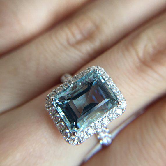 5 5 Carat Aquamarine Engagement Ring Blue Stone Ring White Etsy In 2020 Engagement Ring Blue Stone 14k White Gold Diamond Engagement Ring Black Diamond Engagement Ring Set