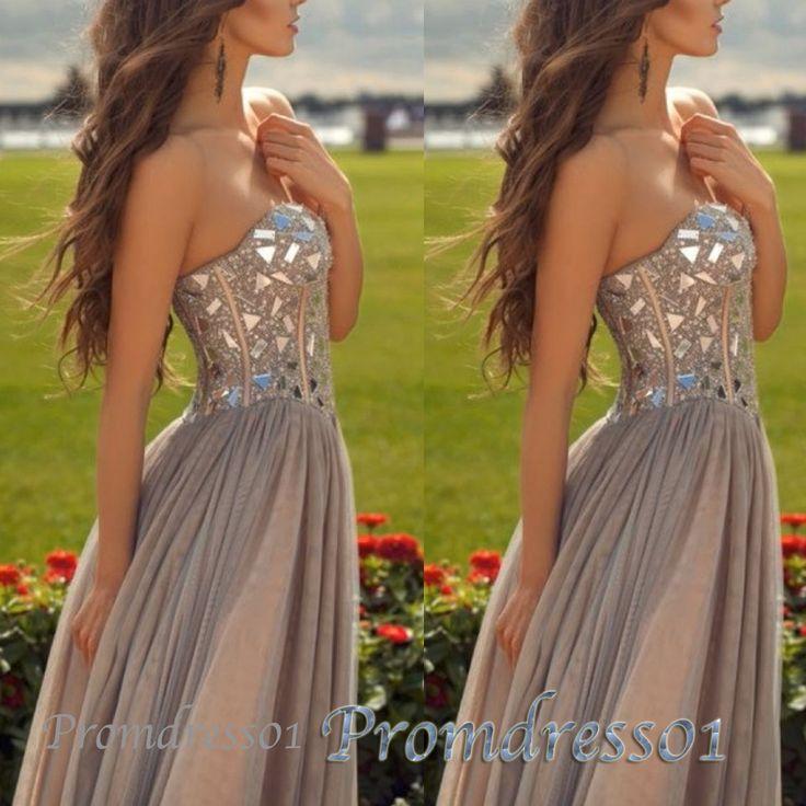 Sweetheart grey chffion beaded long prom dress #promdress #homecoming