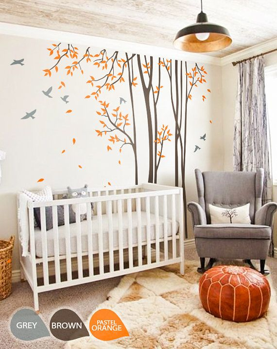 Large Nursery Wall Decal Set With Grey Birds And Orange Leaves, Tree Wall  Decals This Stylish Set Of Brown Large Nursery Trees With Pastel Orange  Leaves And ... Part 53