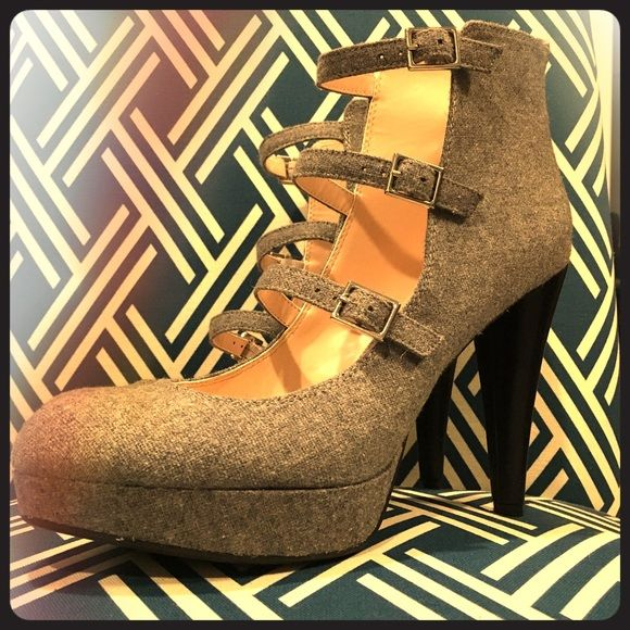 🎀 Bar III Macy's 🎀 gray strappy high heels These never worn grey strappy heels are the perfect statement shoe. Light grey flannel body with black heel. As you can see the tags are still on them. Bar III Shoes Heels