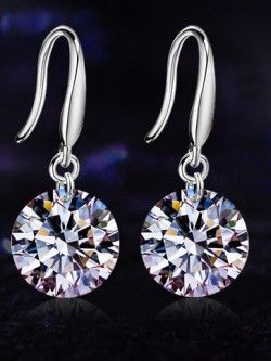 Silver Drop Zircon Stone Earrings