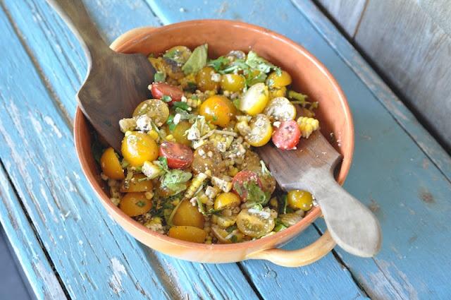 Two Blue Lemons: Tomato & Corn Salad with Lemon-Poppy Dressing