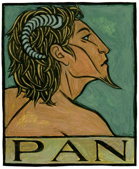 "Pan, Greek God of All the Wild:Pan is the Greek God of the wild, the inspirer of panic. He is half-human and half-goat, and His name simply means ""All"". He is said to haunt the wild places of Arcadia in Greece, and the pipes He invented are named for Him."