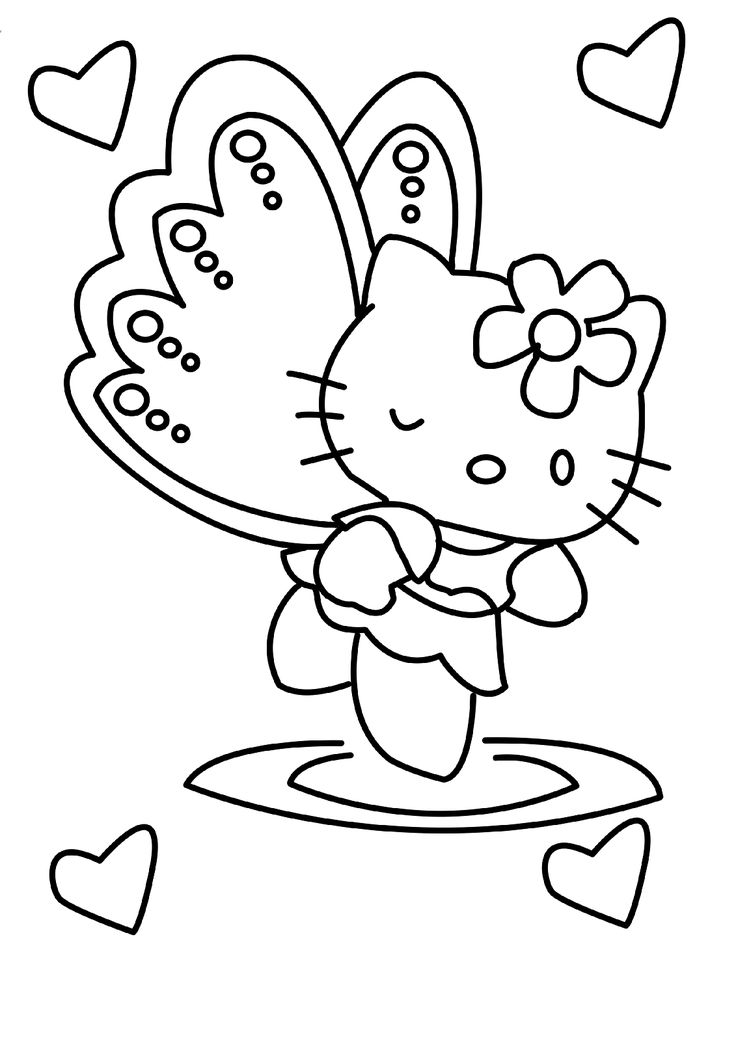 angel hello kitty coloring pages - photo#13