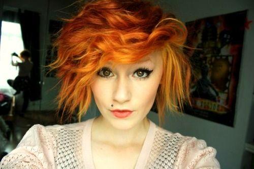 short orange hair: Hair Ideas, Short Hair, Hair Colors, Colored Hair, Hair Styles, Haircolor, Shorts, Hairstyles For Girls, Hipster Hairstyles