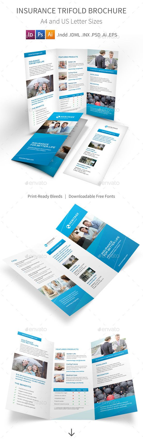 Insurance Company Trifold Brochure Template #design Download: http://graphicriver.net/item/insurance-company-trifold-brochure/12006358?ref=ksioks