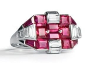 Ruby e do anel de diamante Art Deco by Divonsir Borges