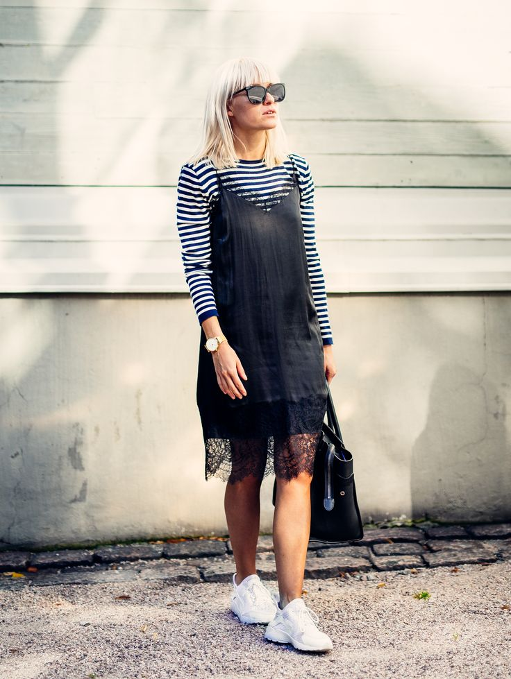 outfit, style, autumn, fall, blogger, inspiration, photography, street style, sunnies, street, goofy, tickle your fancy, sara, fashion, long bob, blonde, hair, blonde hair, stripes, stripe, lace dress, silk dress, sneakers, sunny day, sunshine, watch, rosefield, celine, handbag, bag