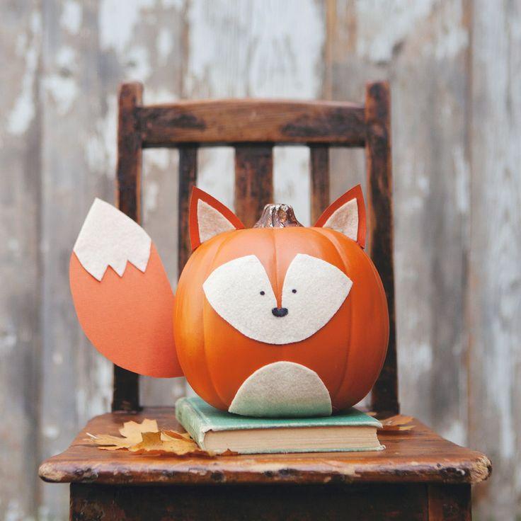 Woodland creatures no carve pumpkins!  Easy DIY!