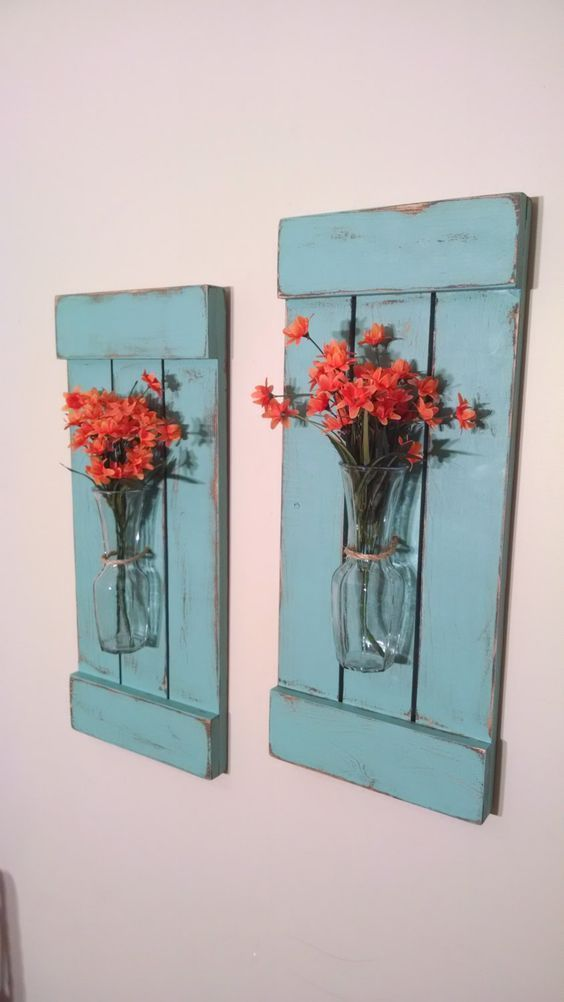 Large Rustic Sconces Shutters With Vase Rustic Shutters Rustic Wall Decor Flower Holders Shabby Chic Sconces Rustic Home Decor Vases