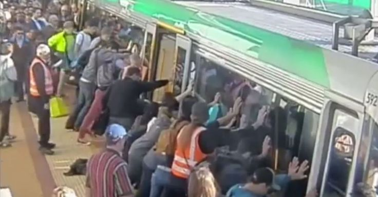 Passengers at a Perth train station managed to tilt the train and free a man who got stuck between the train and the platform.