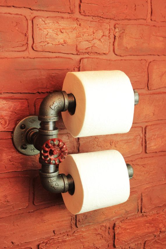Industrial Pipe Double Roll Toilet Paper Holder, toilet roll holder metal industrial black pipe, Bathroom decor, Bathroom fixture, TP Holder