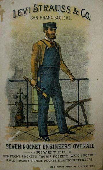 DENIM - Il nuovo robustissimo pantalone, con la tela presto sostituita dal caratteristico blu indaco, divenne la divisa, oltre che dei cercatori d'oro, degli operai della ferrovia transamericana, dei minatori, dei cowboy.