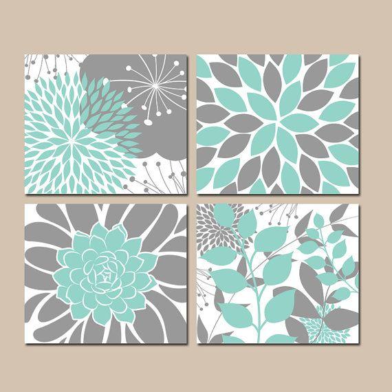 ☆AQUA Gray Bedroom Pictures, CANVAS Or Prints, Floral Wall Art, Flower Aqua