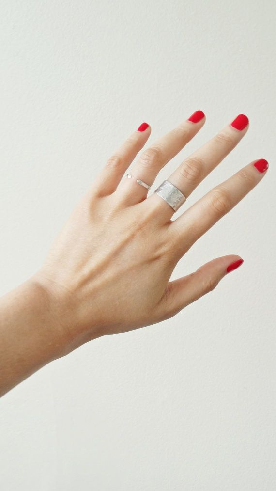 Sterling Silver Hammered Wide Band Ring by ShopNepheliad