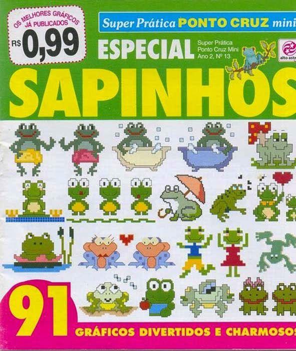 Revistas de manualidades Gratis: Graficos de sapos y ranas en punto de cruz