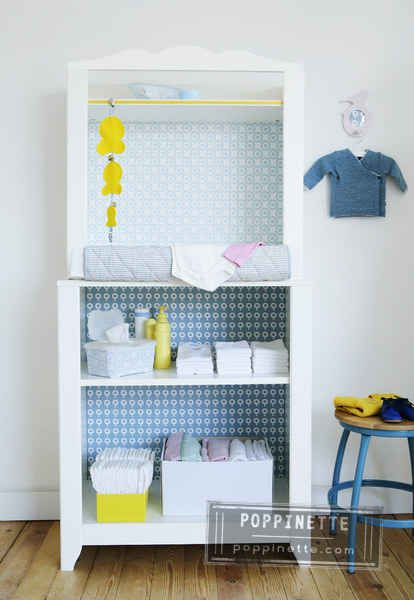 Meuble pour enfant à customiser avec des chutes de papier peint. - Children's furniture to customize with wallpaper Falls.