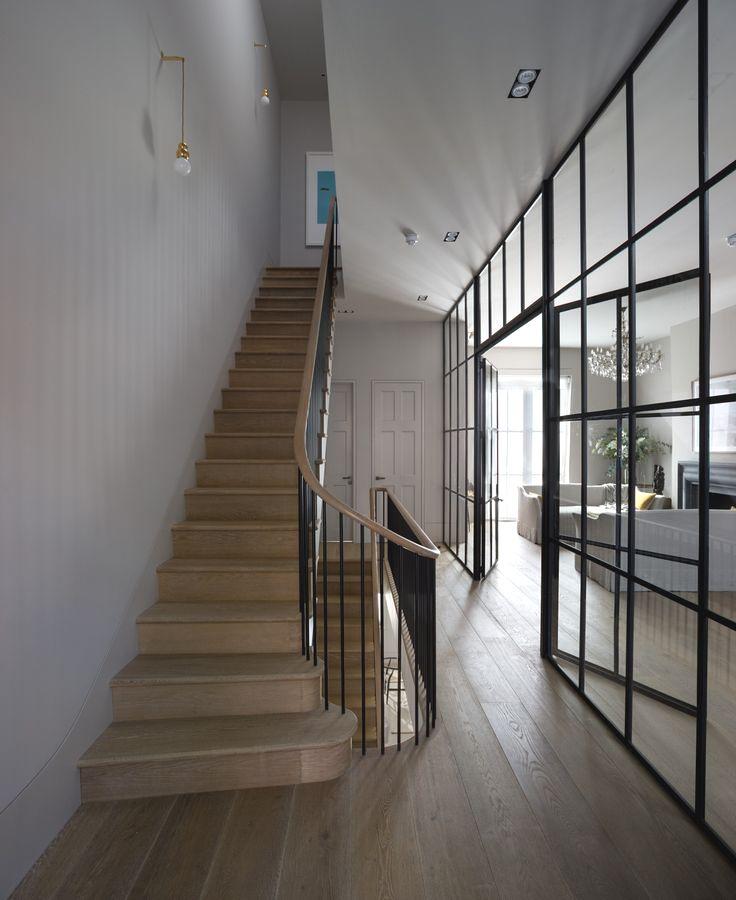 wood stairs & glass/steel wall | michaelis boyd