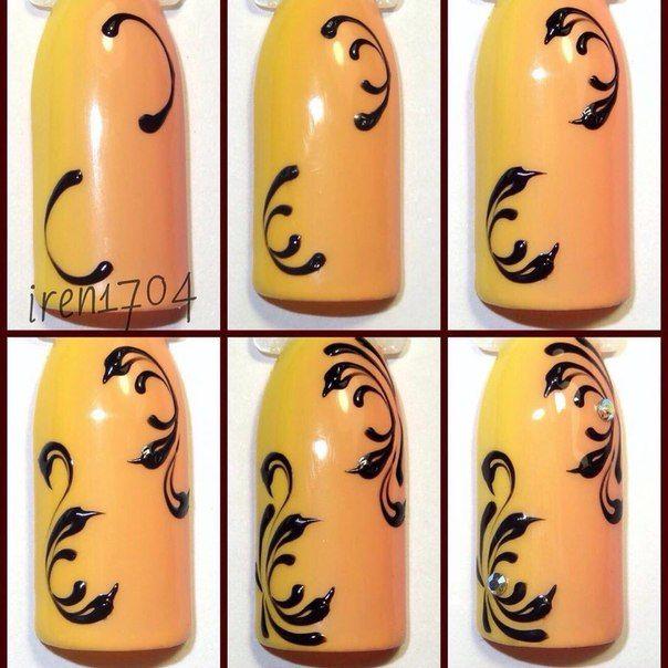 Как рисовать вензеля на ногтях пошагово - фото смотрите в нашей статье…