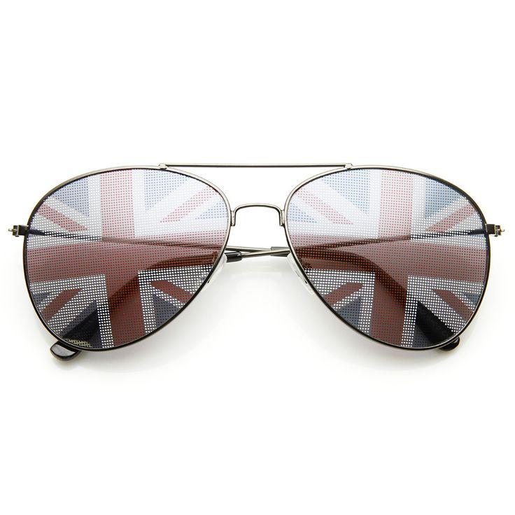 Classic Metal Aviator Great Britain UK British Flag Novelty Sunglasses