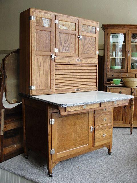 1920s Vintage Sellers Mastercraft Oak Kitchen Cabinet With Slag Glass