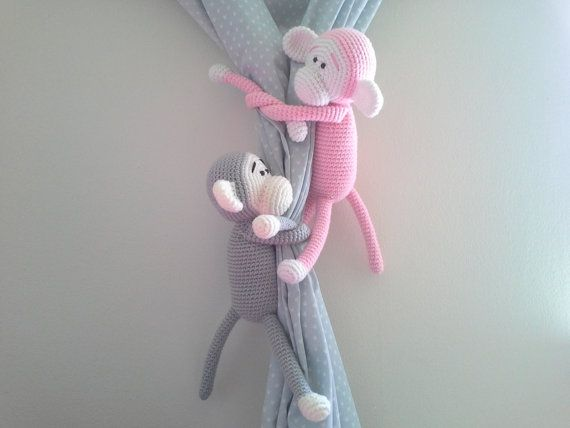 Monkey Curtain Tie Back Crochet Monkey Amigurumi Tie by MonoBlanco