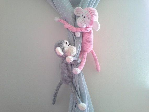 Monkey Curtain Tie Back Crochet Monkey Amigurumi Tie by MonoBlanco