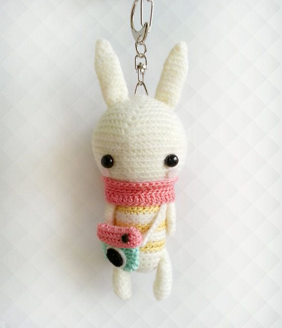 Crochet Bunny Instagram Keychain, Crochet Keychain, Amigurumi Bunny Plush Keychain, Bunny Gift, Back to School Gift, Gift for Her  Meet Lola ♥  She measures approximately 5 inches tall, 1 3/4 inches wide (head) and is hand crocheted with delicate details using 100% mercerized cotton crochet thread. Stuffed with polyester fibre fill and made with care in a pet free and smoke free environment. Attached to a lobster clasp with swivel chain for firm grip, convenient grappling and hanging…