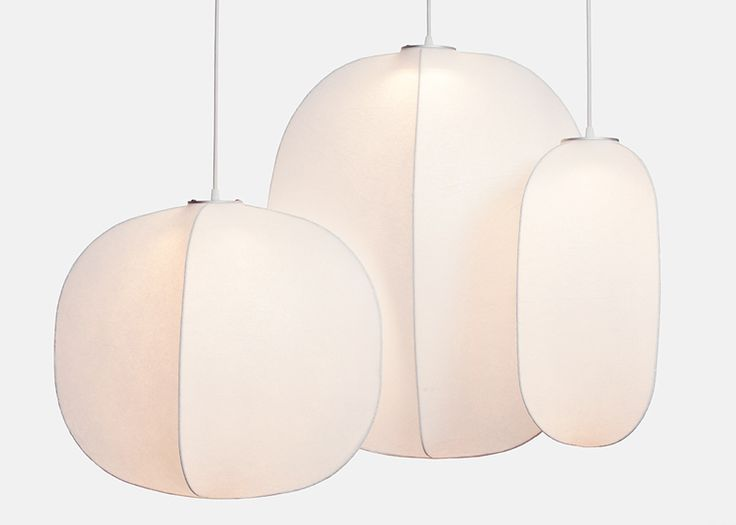 Mori pendant lamps by Rich Brilliant Willing encase light in a cocoon