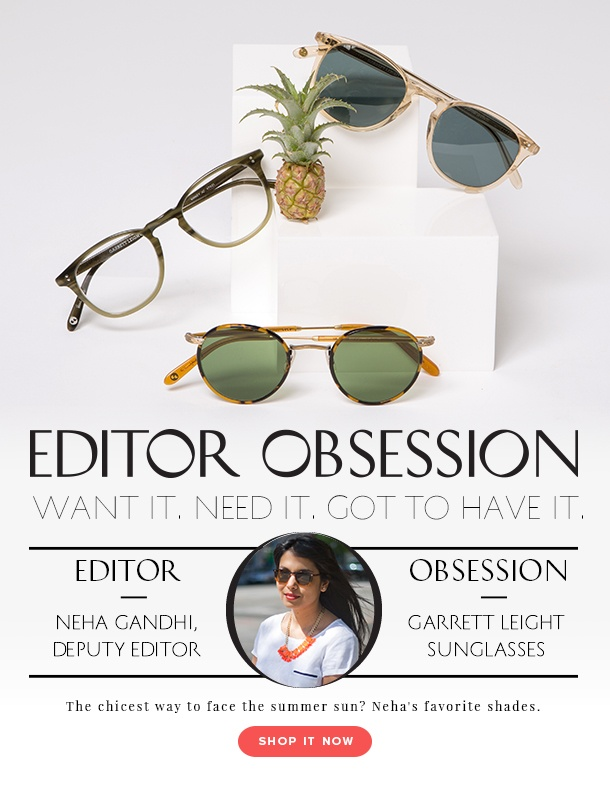 R29 Editor Obsession - Garrett Leight sunglasses. Owned by (and named for) the son of Oliver Peoples' founders Larry and Cindy Leight, this 2010-born brand is dedicated to creating specs and sunnies with the highest quality materials — we're talking polarized lenses and handcrafted frames made from Japanese vintage acetate. (The real deal.)