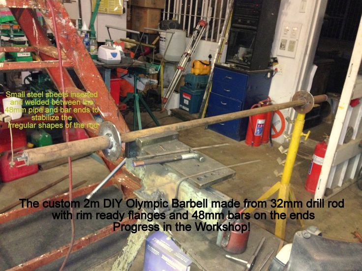 Diy olympic barbell fitted with tyre rim flanges for use