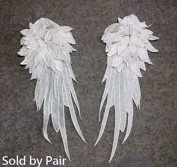 Pair. Wings Applique. Lace Wings. Angle Wings Lace by fabricAsians